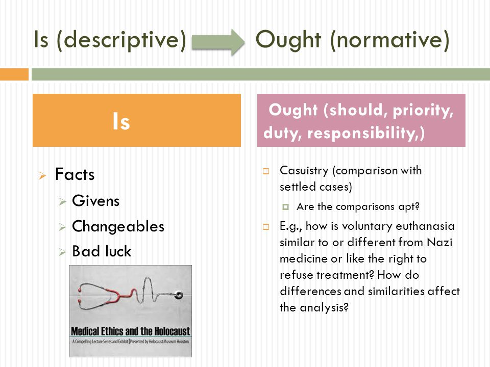 Is (descriptive) Ought (normative)  Facts  Givens  Changeables  Bad luck  Casuistry (comparison with settled cases)  Are the comparisons apt.