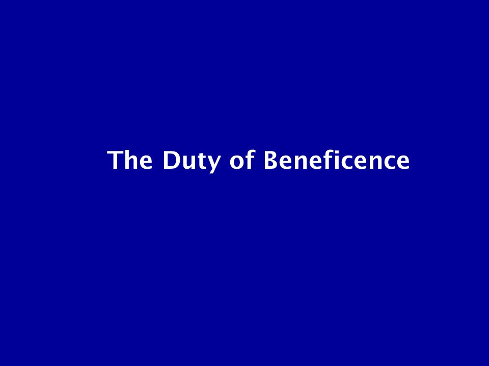 The Duty of Beneficence