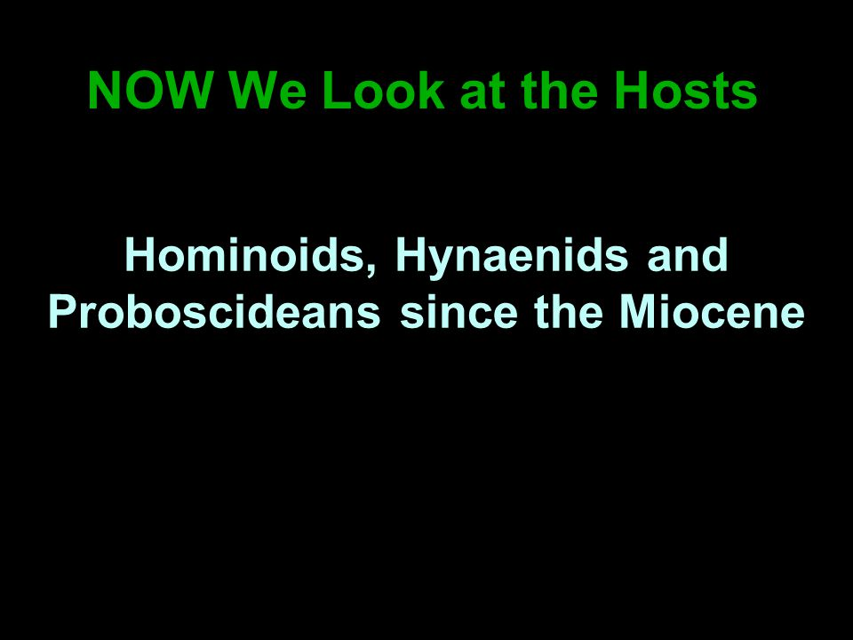 NOW We Look at the Hosts Hominoids, Hynaenids and Proboscideans since the Miocene