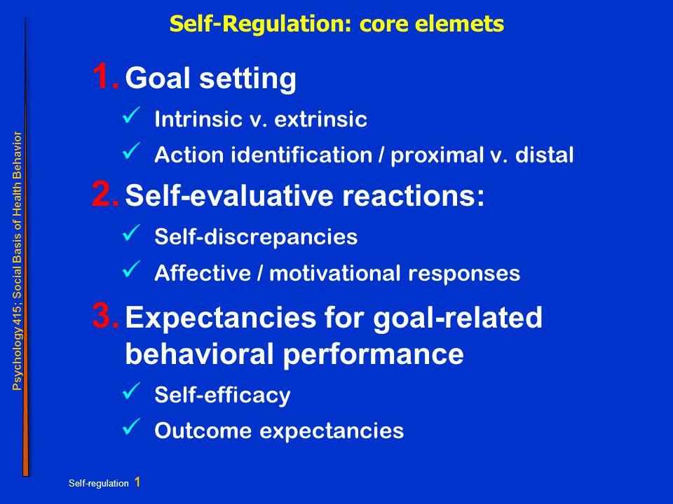 Psychology 415; Social Basis of Health Behavior Self-regulation 1 Self-Regulation: core elemets 1.