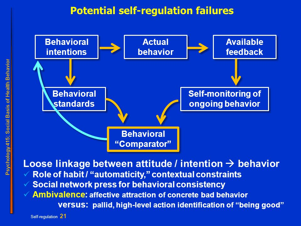 Psychology 415; Social Basis of Health Behavior Self-regulation 21 Potential self-regulation failures Behavioral intentions Behavioral standards Self-monitoring of ongoing behavior Actual behavior Available feedback Behavioral Comparator Loose linkage between attitude / intention  behavior Role of habit / automaticity, contextual constraints Social network press for behavioral consistency Ambivalence: affective attraction of concrete bad behavior versus: pallid, high-level action identification of being good