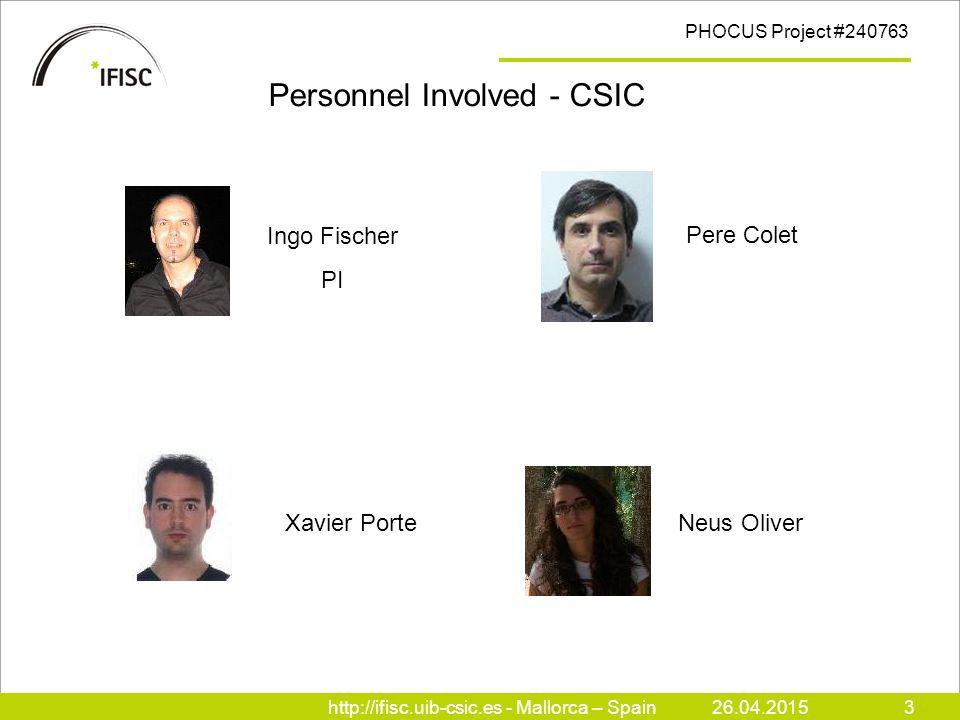 http://ifisc.uib-csic.es - Mallorca – Spain26.04.20153 PHOCUS Project #240763 Personnel Involved - CSIC Pere Colet Xavier Porte Neus Oliver Ingo Fischer PI
