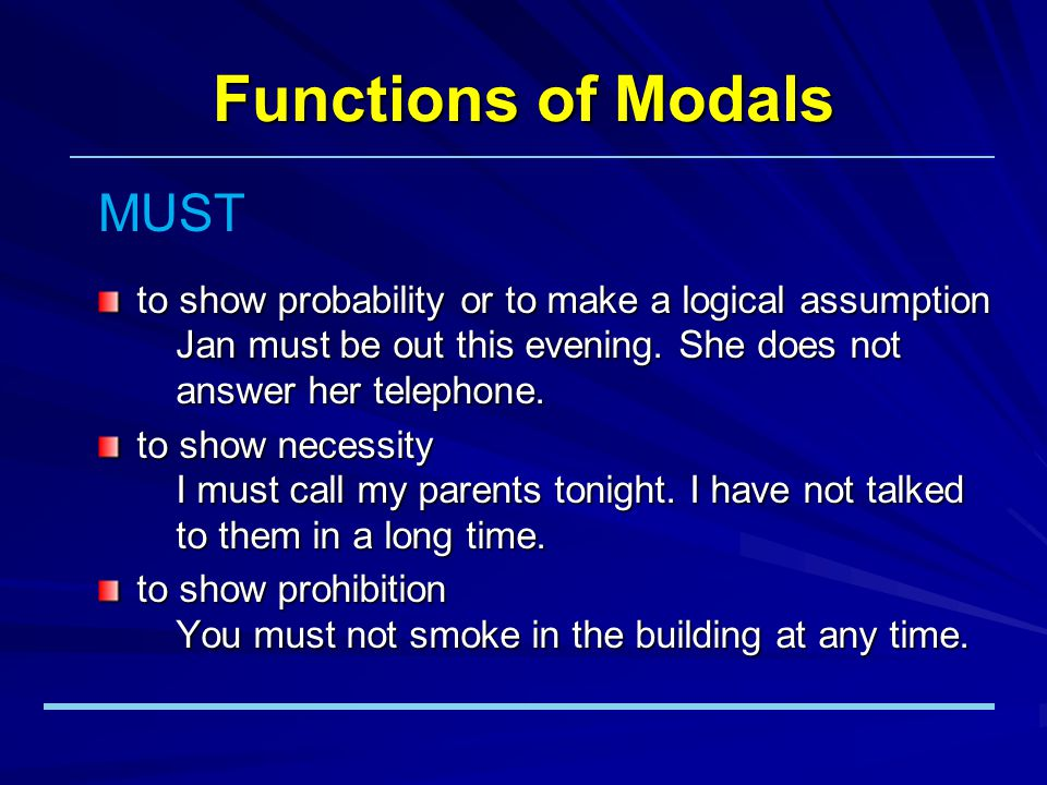 Functions of Modals to show probability or to make a logical assumption Jan must be out this evening.