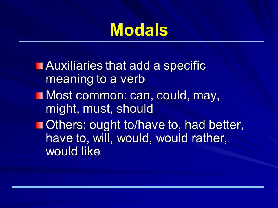 Functions of Modals to show possibility The instructor might come to class late today. MIGHT