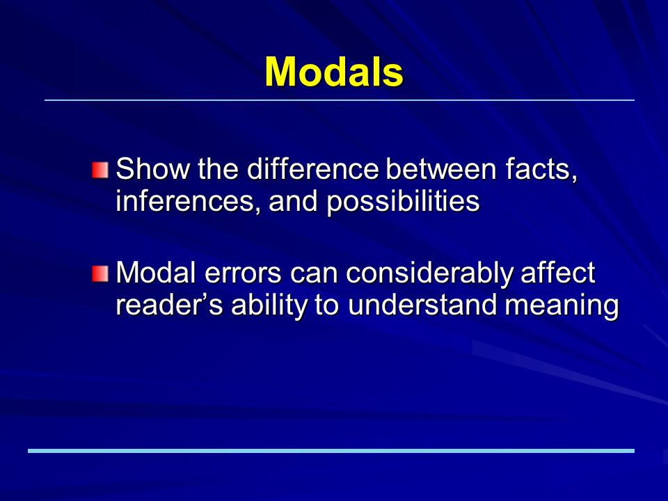 Functions of Modals Assertion of factnone Requirementmust Strong recommendation/adviceshould Opportunity or optioncan Suggestioncould, might Example: Researchers use the library...