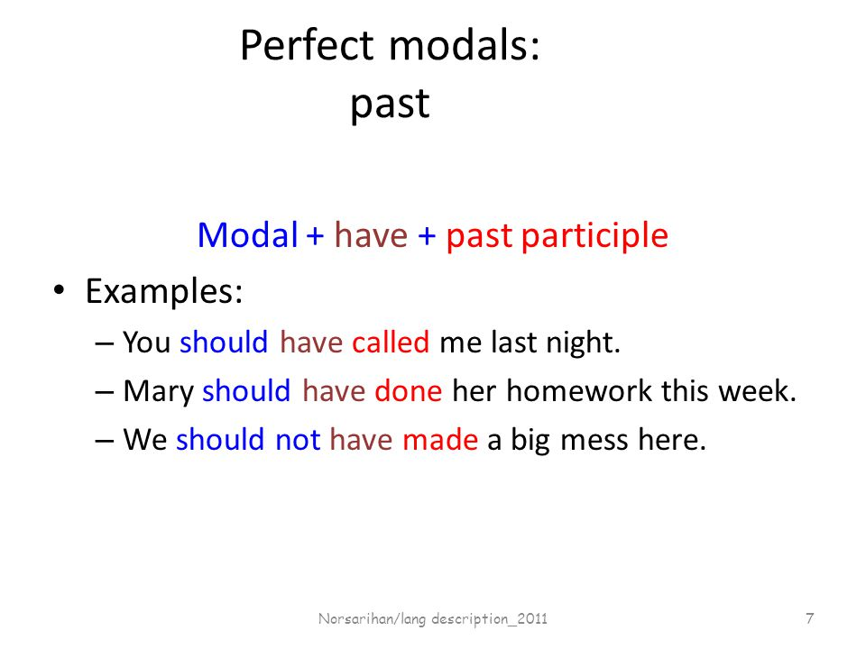 Perfect modals: past Modal + have + past participle Examples: – You should have called me last night.