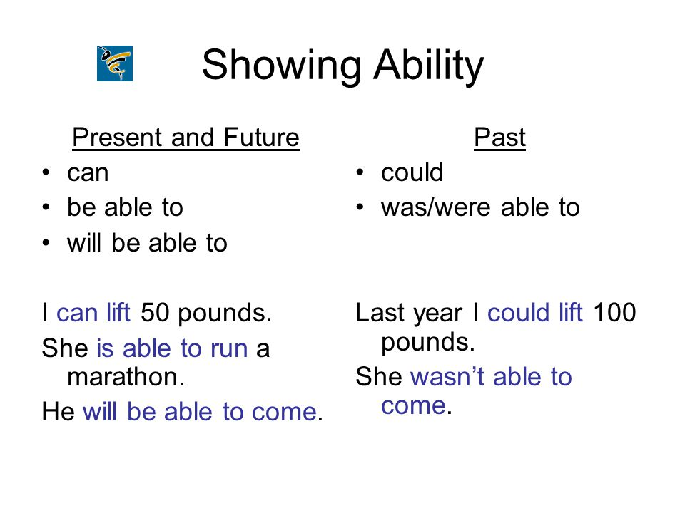 Showing Ability Present and Future can be able to will be able to I can lift 50 pounds. She is able to run a marathon. He will be able to come. Past c