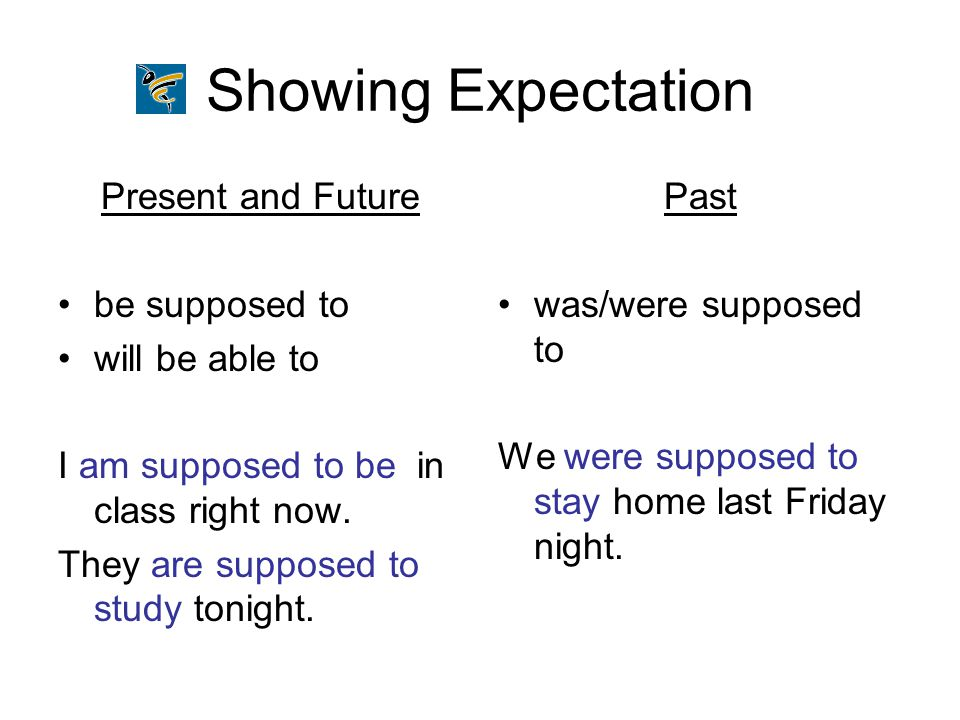 Showing Expectation Present and Future be supposed to will be able to I am supposed to be in class right now. They are supposed to study tonight. Past
