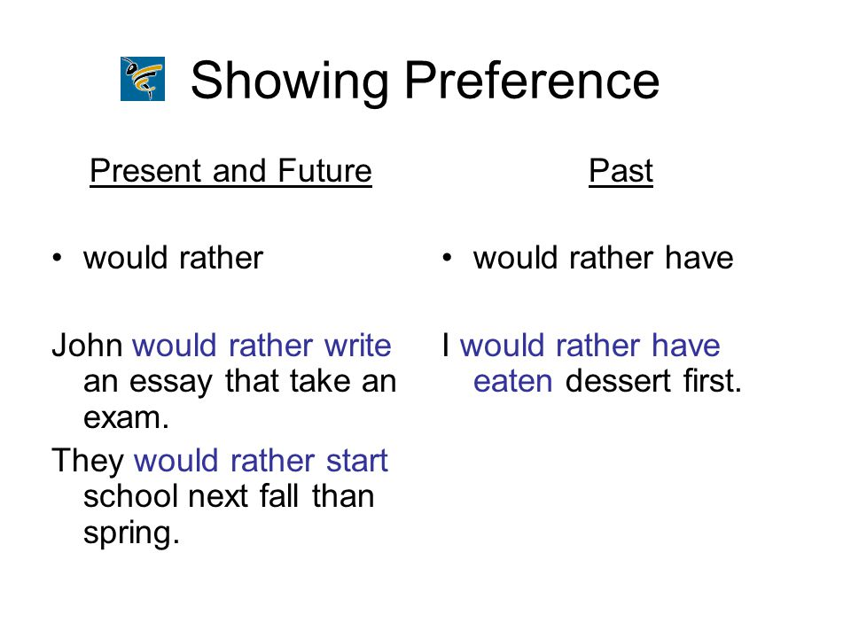 Showing Preference Present and Future would rather John would rather write an essay that take an exam. They would rather start school next fall than s