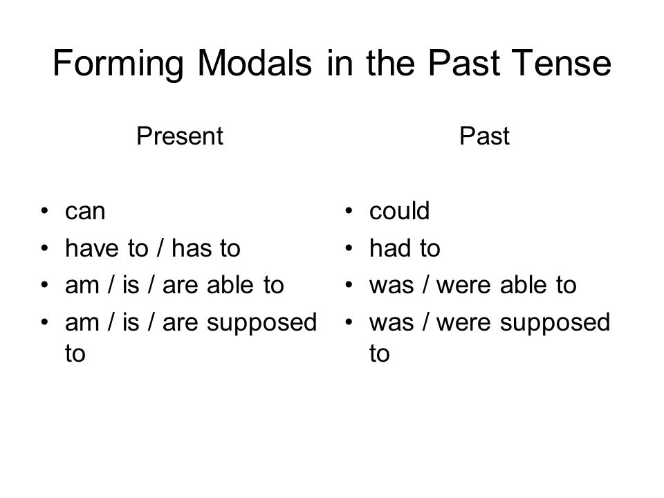 Forming Modals in the Past Tense Present can have to / has to am / is / are able to am / is / are supposed to Past could had to was / were able to was