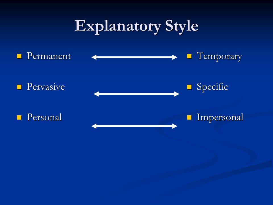 Explanatory Style Permanent Permanent Pervasive Pervasive Personal Personal Temporary Specific Impersonal