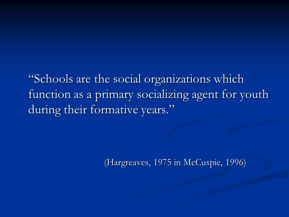 Schools are the social organizations which function as a primary socializing agent for youth during their formative years. (Hargreaves, 1975 in McCuspie, 1996)