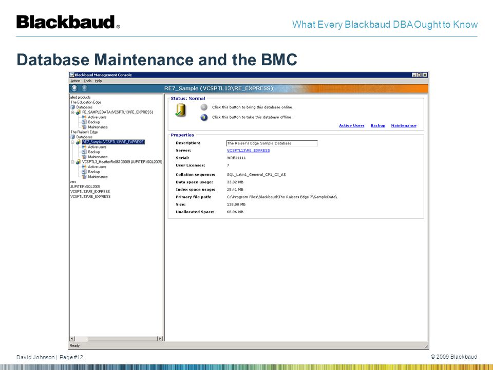 David Johnson | Page #12 © 2009 Blackbaud What Every Blackbaud DBA Ought to Know Database Maintenance and the BMC