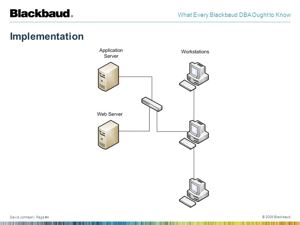 David Johnson | Page #4 © 2009 Blackbaud What Every Blackbaud DBA Ought to Know Implementation