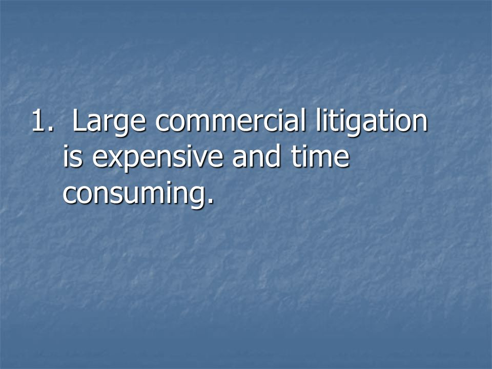1. Large commercial litigation is expensive and time consuming.