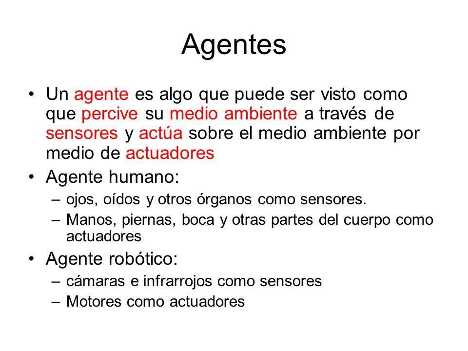 Agentes Un agente es algo que puede ser visto como que percive su medio ambiente a través de sensores y actúa sobre el medio ambiente por medio de act