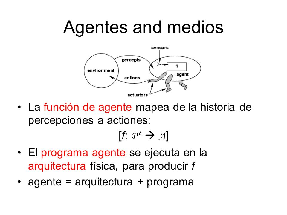 Agentes and medios La función de agente mapea de la historia de percepciones a actiones: [f: P*  A ] El programa agente se ejecuta en la arquitectura