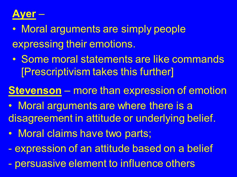 Ayer – Moral arguments are simply people expressing their emotions.