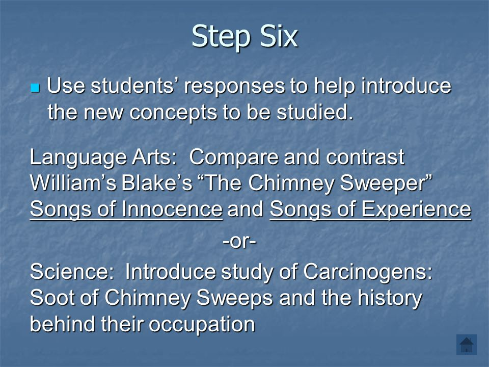 Step Six Use students' responses to help introduce the new concepts to be studied. Use students' responses to help introduce the new concepts to be st