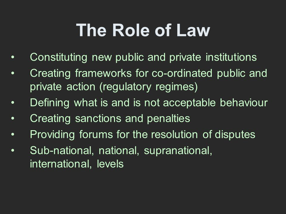 Understanding Law Incorrect Understandings Law as an instrument Law as an obstruction Law as irrelevant Correct Understandings Law has its own culture and its own logic (Geertz, 1993, Nelken, 1995) Law is a discourse with its own language Laws are malleable and ambiguous Law as framing, constituting and limiting based on what is and what should be (Fisher, 2007)