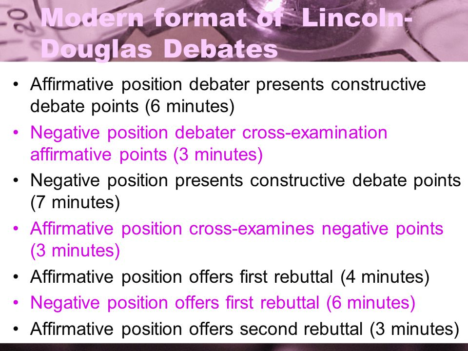 Modern format of Lincoln- Douglas Debates Affirmative position debater presents constructive debate points (6 minutes) Negative position debater cross