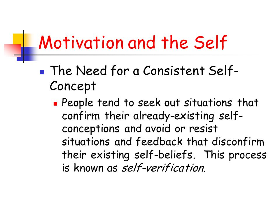 Motivation and the Self The Need for a Consistent Self- Concept People tend to seek out situations that confirm their already-existing self- conceptio