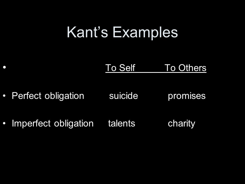 Kant's Examples To Self To Others Perfect obligation suicide promises Imperfect obligation talents charity