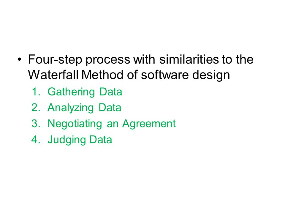 Four-step process with similarities to the Waterfall Method of software design 1.Gathering Data 2.Analyzing Data 3.Negotiating an Agreement 4.Judging Data