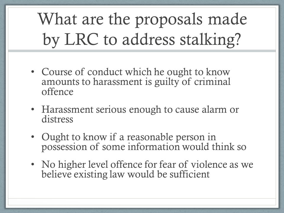 What are the proposals made by LRC to address stalking.