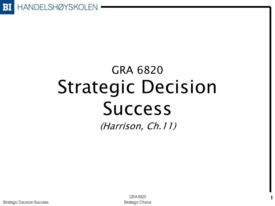 Strategic Decision Success GRA 6820 Strategic Choice 2 Overview of chapter 11 A profile of decision success Determinants of strategic decision success A model for strategic decision success A composite approach to the evaluation of strategic decision success Summary