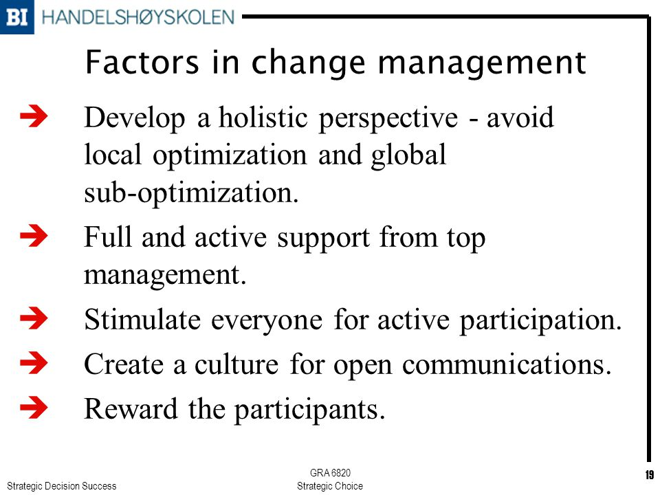 Strategic Decision Success GRA 6820 Strategic Choice 19 Factors in change management è Develop a holistic perspective - avoid local optimization and global sub-optimization.