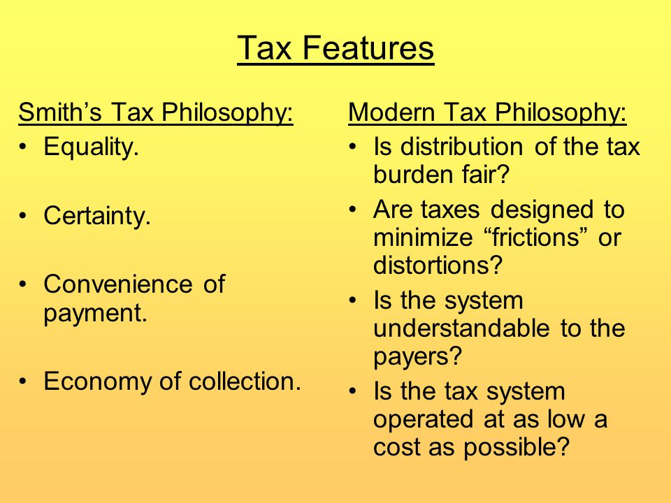 Tax Features Smith's Tax Philosophy: Equality. Certainty.