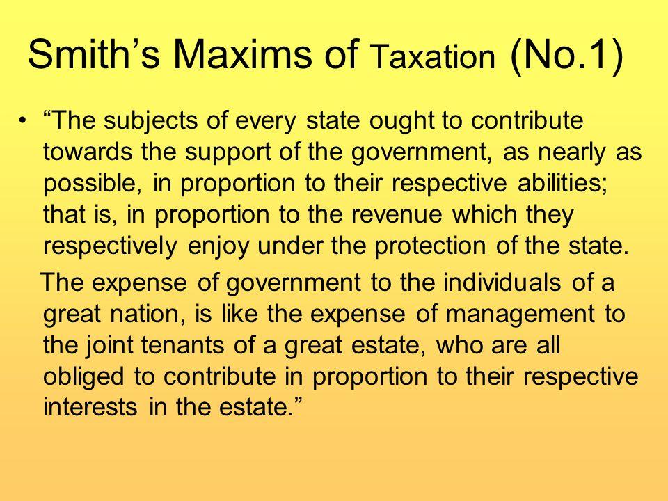 Smith's Maxim of Taxation (No.