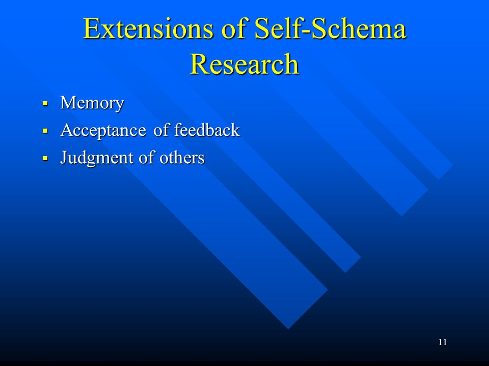 11 Extensions of Self-Schema Research  Memory  Acceptance of feedback  Judgment of others