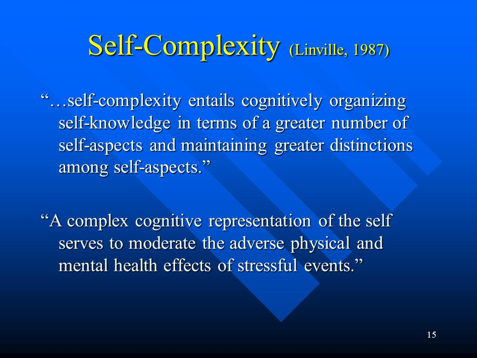 """15 Self-Complexity (Linville, 1987) """"…self-complexity entails cognitively organizing self-knowledge in terms of a greater number of self-aspects and m"""