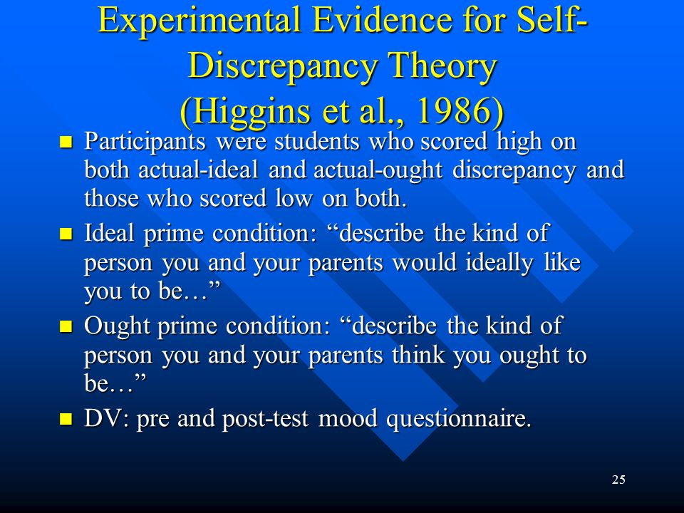 25 Experimental Evidence for Self- Discrepancy Theory (Higgins et al., 1986) Participants were students who scored high on both actual-ideal and actua