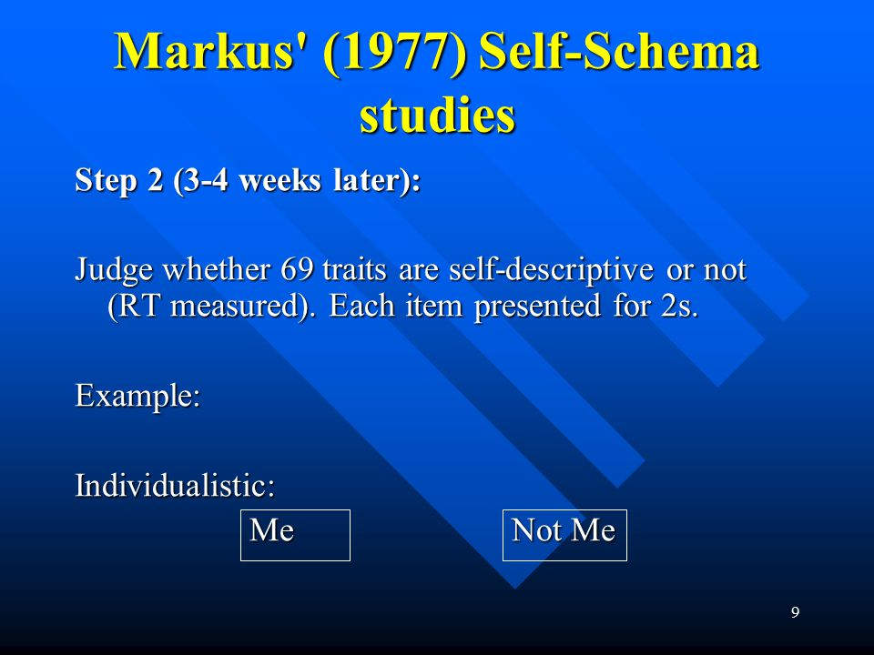 9 Markus' (1977) Self-Schema studies Step 2 (3-4 weeks later): Judge whether 69 traits are self-descriptive or not (RT measured). Each item presented