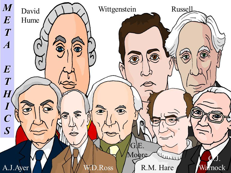 METAETHICS A.J.AyerW.D.Ross G.E..Moore R.M. Hare David Hume WittgensteinRussell G.J. Warnock