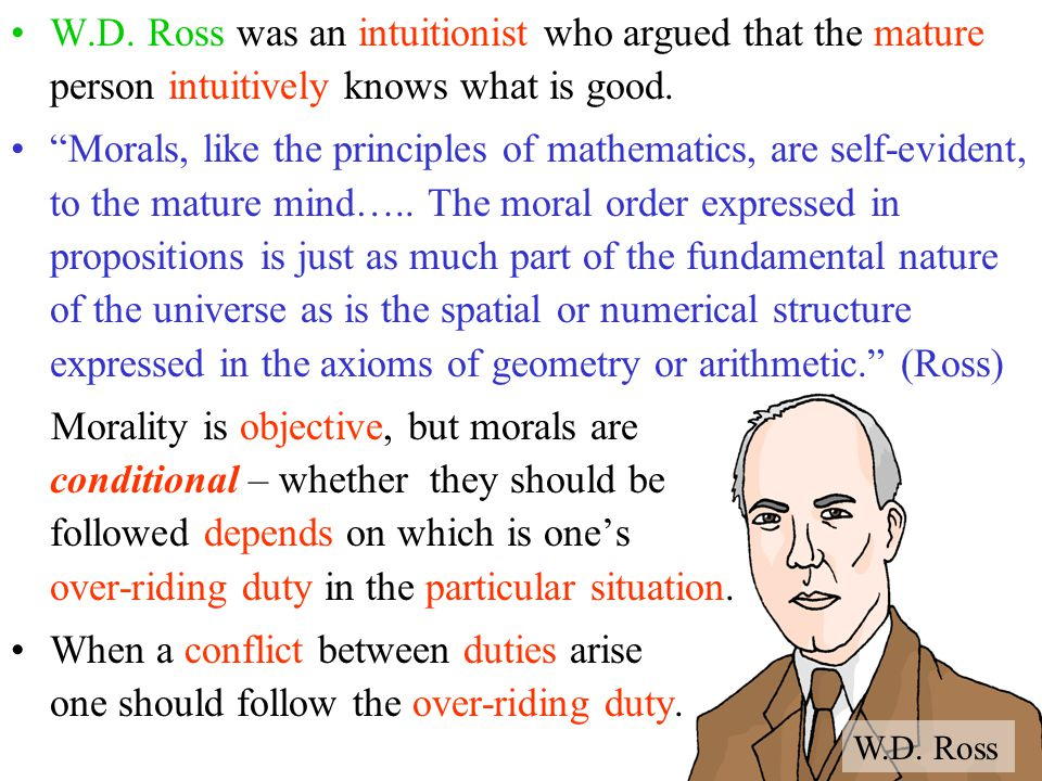 """W.D. Ross was an intuitionist who argued that the mature person intuitively knows what is good. """"Morals, like the principles of mathematics, are self-"""