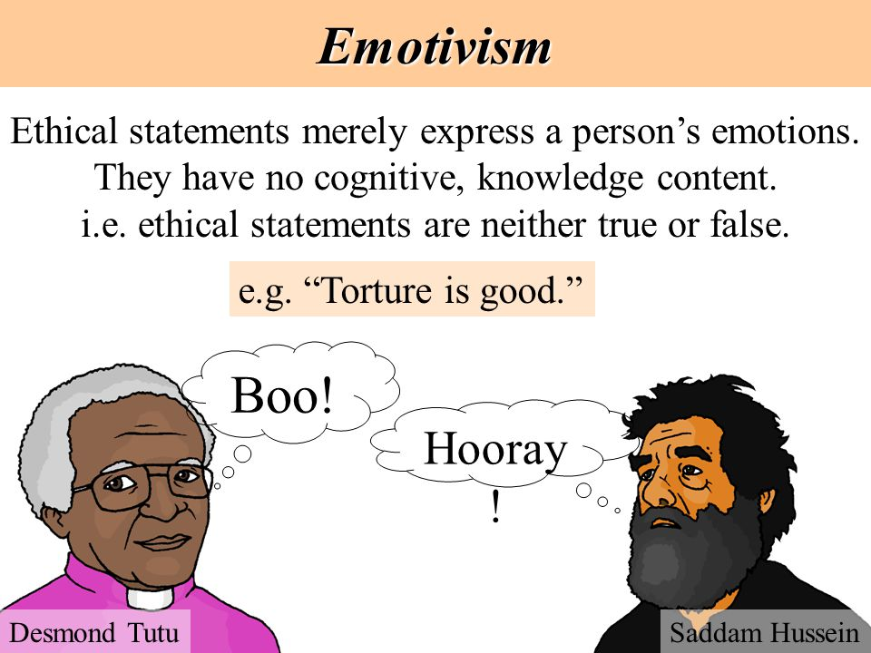 Emotivism Ethical statements merely express a person's emotions. They have no cognitive, knowledge content. i.e. ethical statements are neither true o