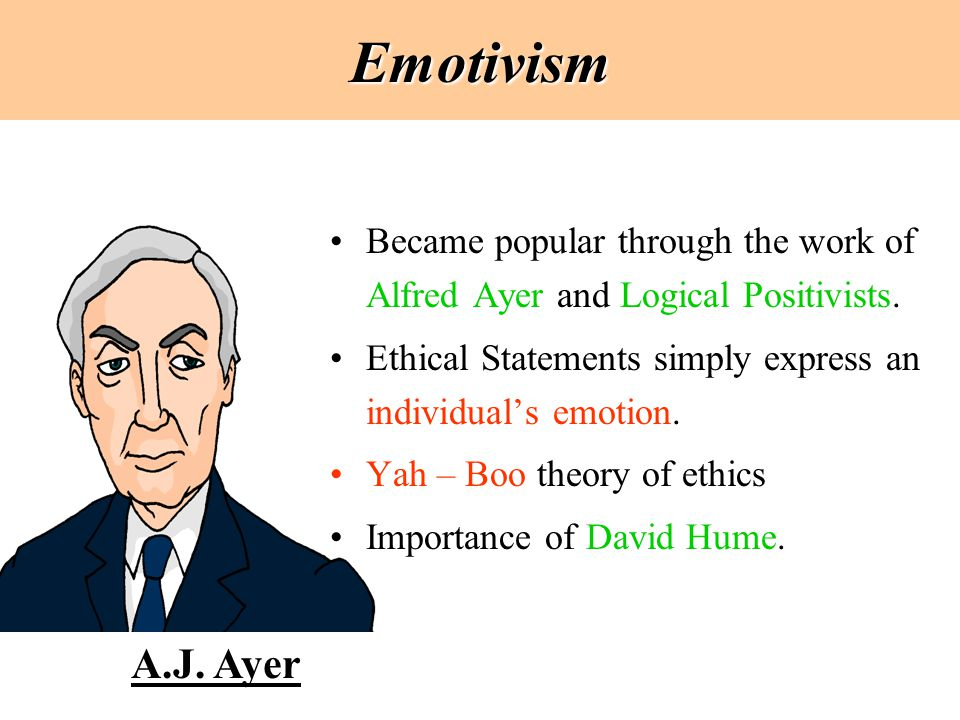 Emotivism Became popular through the work of Alfred Ayer and Logical Positivists. Ethical Statements simply express an individual's emotion. Yah – Boo
