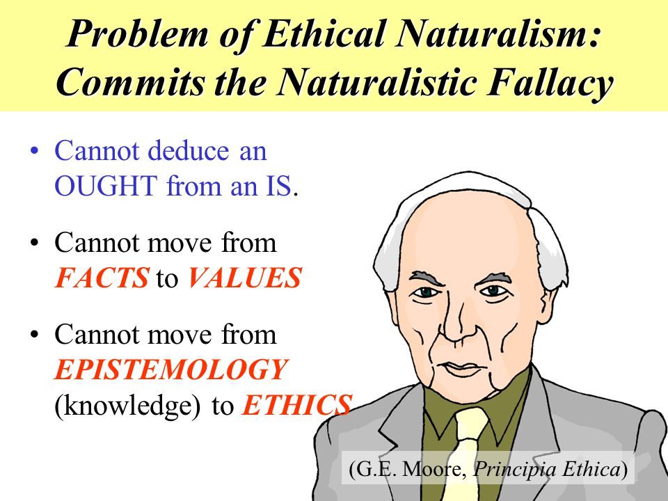 Problem of Ethical Naturalism: Commits the Naturalistic Fallacy Cannot deduce an OUGHT from an IS. Cannot move from FACTS to VALUES Cannot move from E