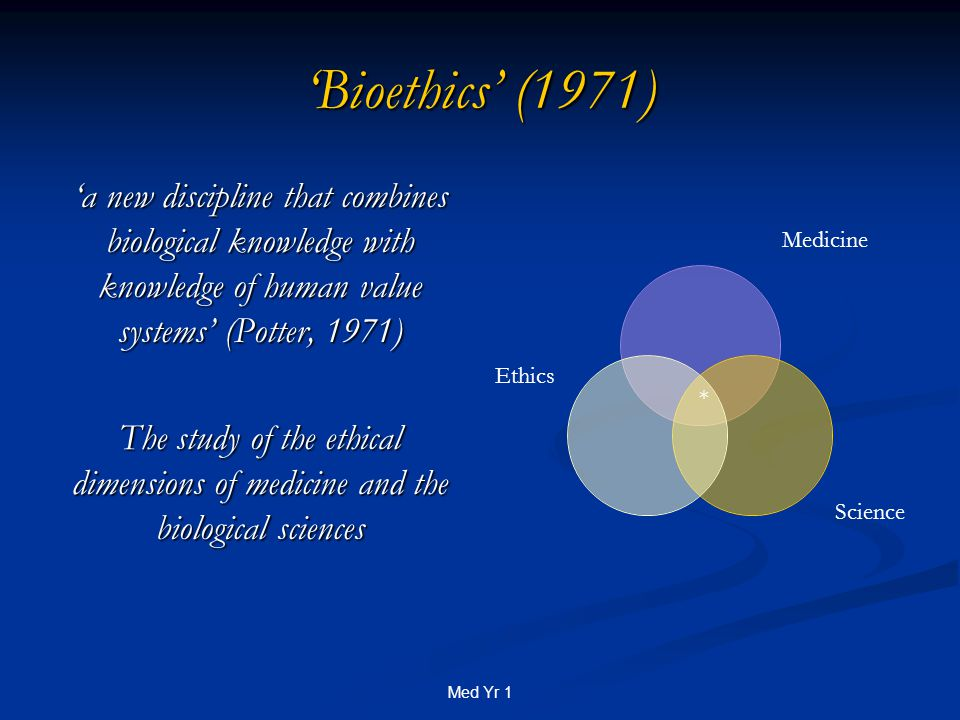 Med Yr 1 'Bioethics' (1971) 'a new discipline that combines biological knowledge with knowledge of human value systems' (Potter, 1971) The study of the ethical dimensions of medicine and the biological sciences Medicine Science Ethics *