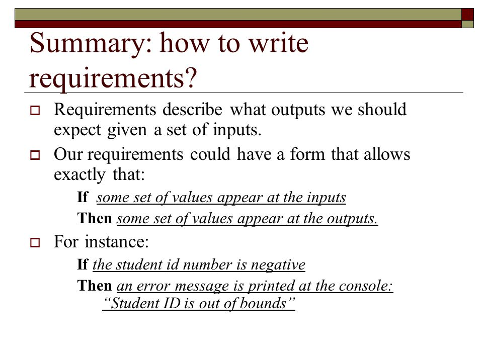 Summary: how to write requirements.