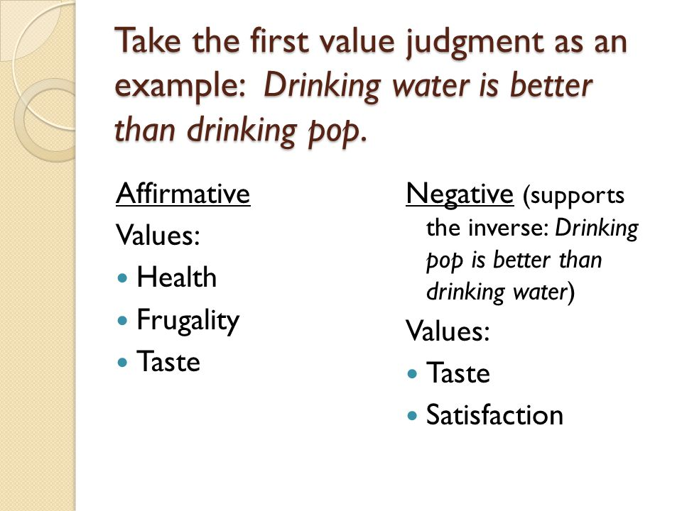 Take the first value judgment as an example: Drinking water is better than drinking pop.