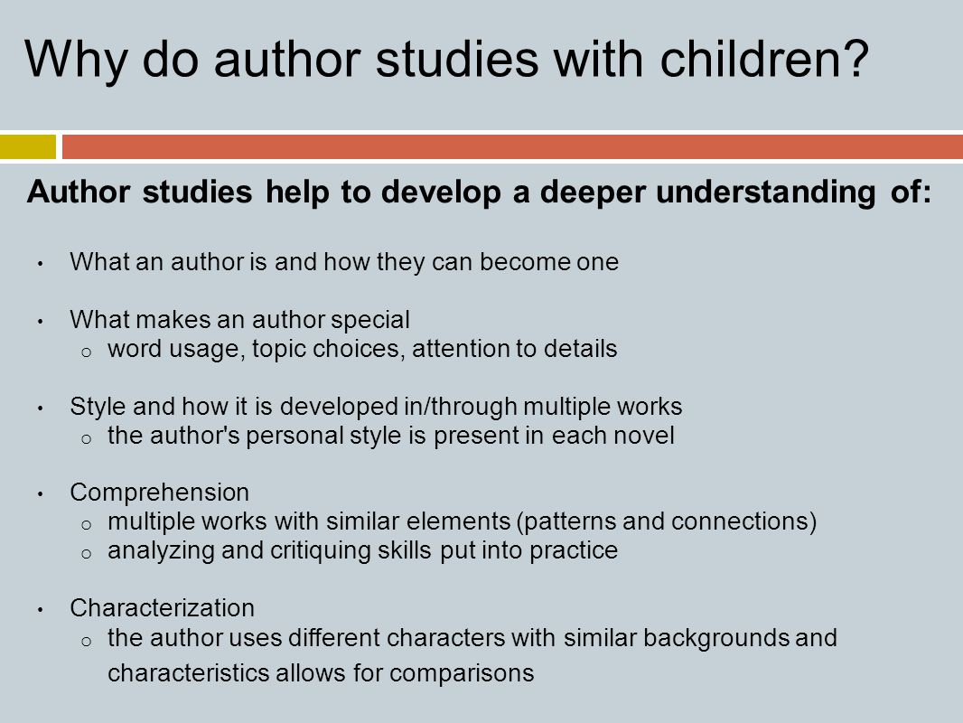Why do author studies with children.
