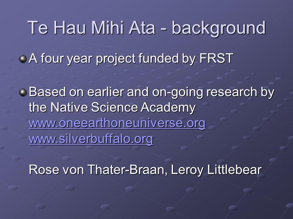 Te Hau Mihi Ata - background Research Team: Linda Smith (PVC Maori Waikato University) Maui Hudson (ESR) Sarah-Jane Tiakiwai (Te Whare Wananga o Awanuiarangi) Murray Hemi (Tahitanga)