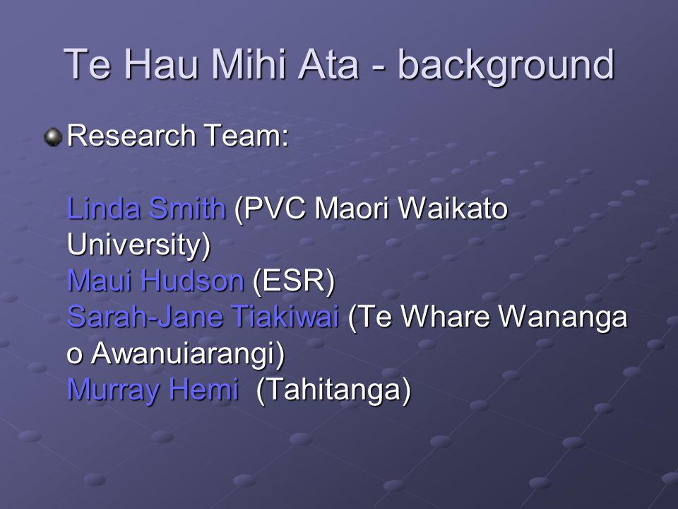 Te Hau Mihi Ata – earlier research