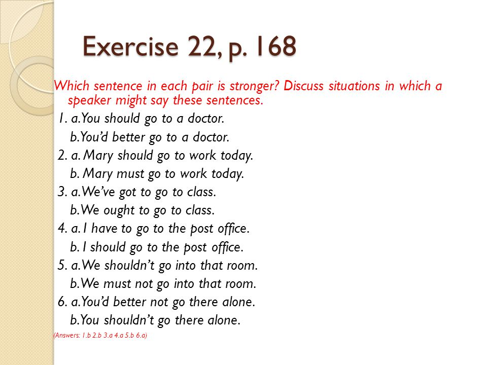 Exercise 22, p. 168 Which sentence in each pair is stronger? Discuss situations in which a speaker might say these sentences. 1. a. You should go to a