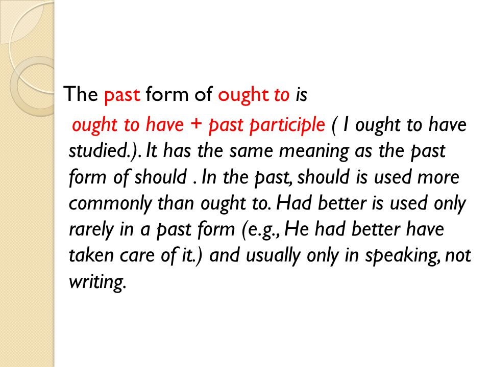 The past form of ought to is ought to have + past participle ( I ought to have studied.). It has the same meaning as the past form of should. In the p